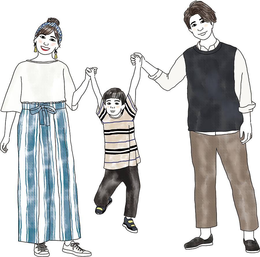 家族3人イラスト
