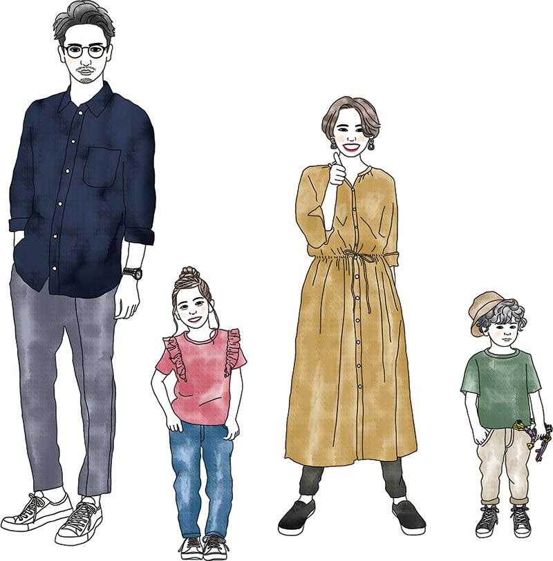 家族4人イラスト
